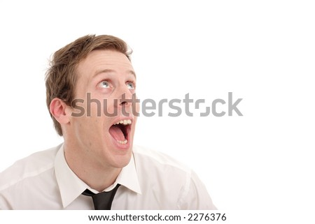 Portrait of a Happy Business Man Looking Up - stock photo