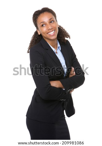 Portrait of a happy business woman posing with arms crossed on isolated white background