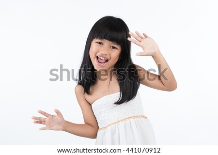 Portrait of a happy child waving on white background