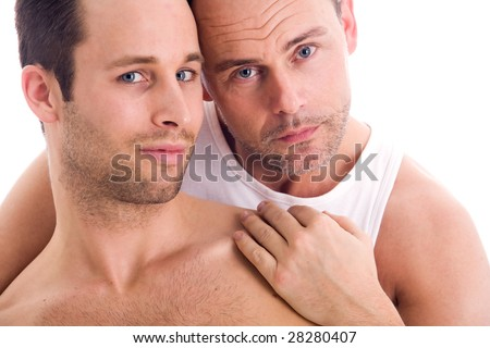 Portrait of a happy couple on white - stock photo