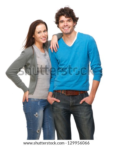 Portrait of a happy couple smiling together - stock photo