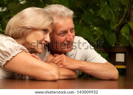 portrait of a happy elderly couple outdoors - stock photo