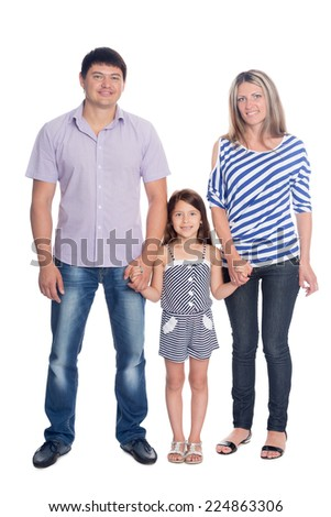 Portrait of a happy family in a full length isolated on white background - stock photo