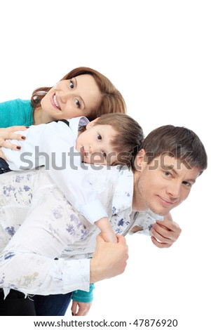 Portrait of a happy family. Isolated over white background. - stock photo