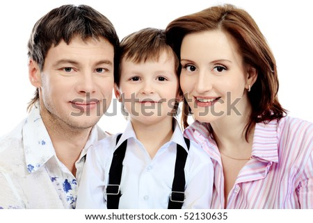 Portrait of a happy family. Isolated over white background.