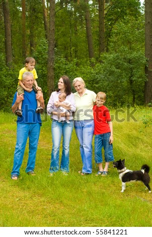 portrait of a happy family of six - stock photo