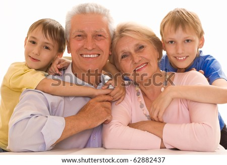 portrait of a happy family playing on a white