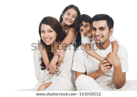 Portrait of a happy family smiling