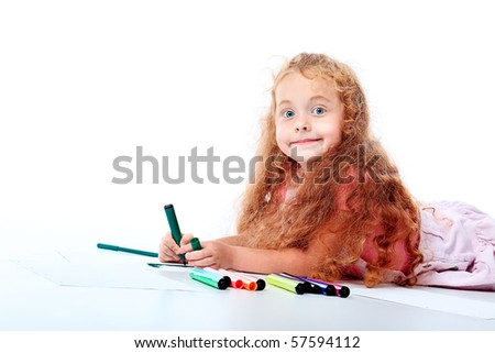 Portrait of a happy girl with felt pens. Isolated over white background. - stock photo