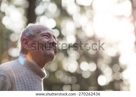 Portrait of a happy grandpa during sunset. Blurred Sunny Background. - stock photo