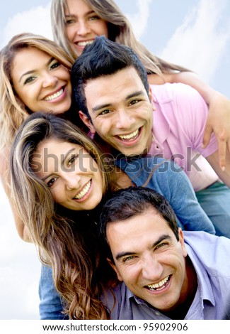 Portrait of a happy group of friends having fun