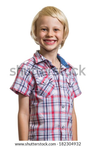 Portrait of a happy, handsome boy looking at camera isolated on white - stock photo
