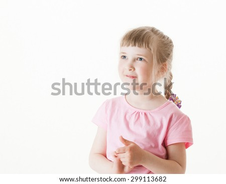 Portrait of a happy little girl , white background