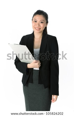 Portrait of a happy looking business woman a folder. Isolated on white background.