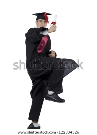 Portrait of a happy male graduate holding his diploma against the white background - stock photo