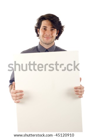 Portrait of a happy male holding blank white card