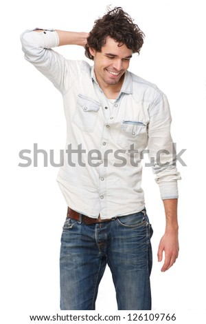 Portrait of a happy man isolated on white background - stock photo