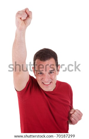 Portrait of a happy  man with his arm raised, on white background. Studio shot - stock photo