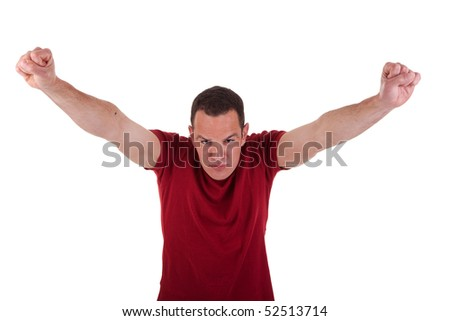 Portrait of a happy  man with his arms raised, isolated on white background, studio shot - stock photo