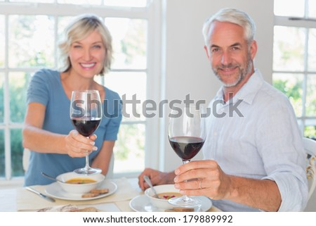 Portrait of a happy mature couple with wine glasses and food at home