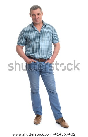 Portrait of a happy mature man isolated  - stock photo