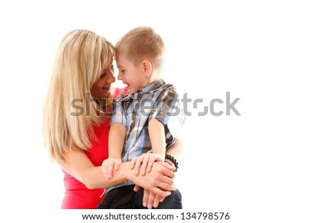 Portrait of a happy mature mother with child 6 years boy isolated on white - stock photo