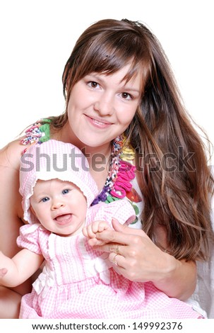 portrait of a happy mother and baby on white.Happy family