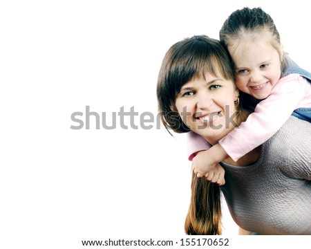 Portrait of a happy mother and daughter - stock photo