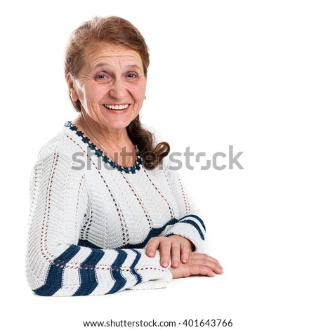 Portrait of a happy old woman on a white background - stock photo