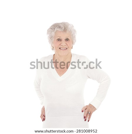 Portrait of a happy old woman smiling against a white background - stock photo
