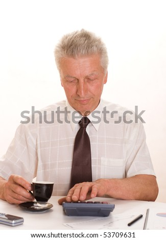 Portrait of a happy senior businessman on a white background
