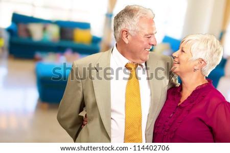Portrait Of A Happy Senior Couple, Indoor - stock photo