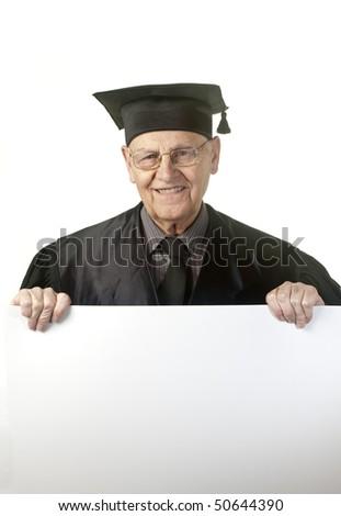 Portrait of a happy senior judge holding blank billboard against white background - stock photo