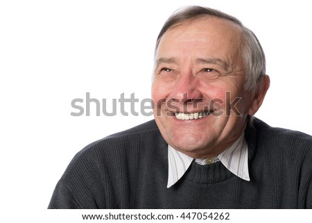 Portrait of a happy senior man in isolation