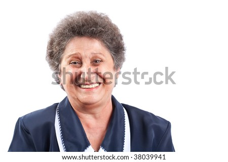 Portrait of a happy senior woman laughing - stock photo