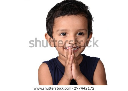 Portrait of a happy smiling boy. Expression of kid.  - stock photo