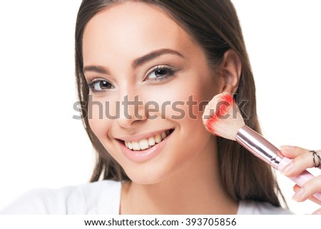 Portrait of a happy smiling brunette makeup beauty.