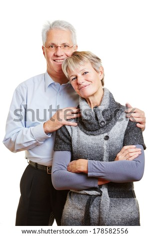 Portrait of a happy smiling elderly senior couple - stock photo