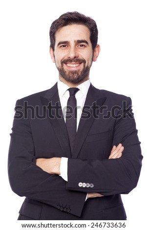 Portrait of a happy smiling handsome business man, isolated on white background - stock photo