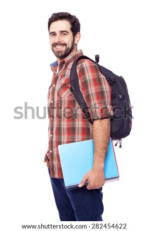 Portrait of a happy smiling student, isolated on white background - stock photo