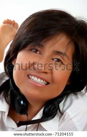 Portrait of a happy smiling young Asian woman