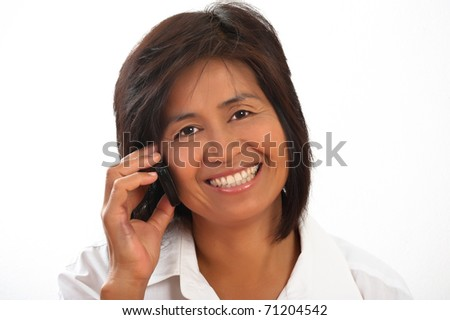 portrait of a happy smiling young Asian woman - stock photo