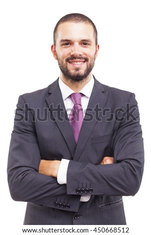 Portrait of a happy smiling young business man, isolated on white background - stock photo