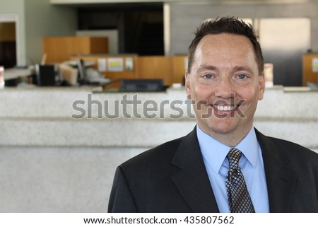 Portrait of a happy successful mature business man with copy space - stock photo