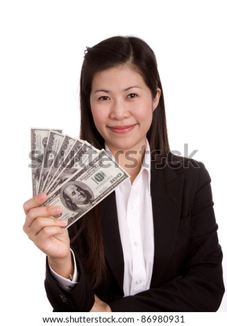 Portrait of a happy woman with American dollar  against white background
