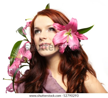 Portrait of a happy women with flowers