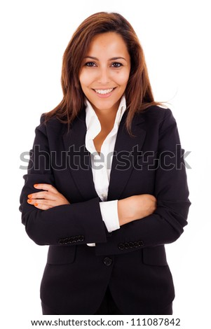 Portrait of a happy young business woman smiling - isolated on white