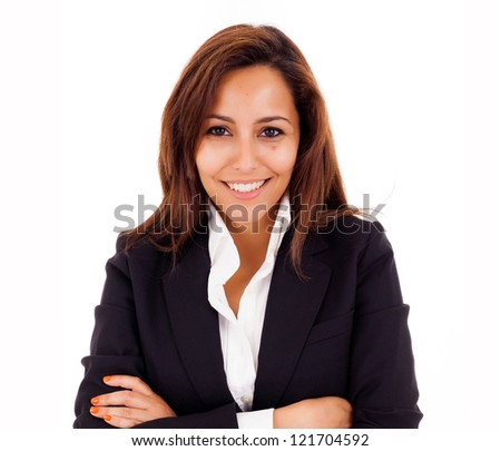 Portrait of a happy young business woman smiling - isolated on white - stock photo