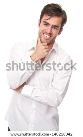 Portrait of a happy young man isolated on white