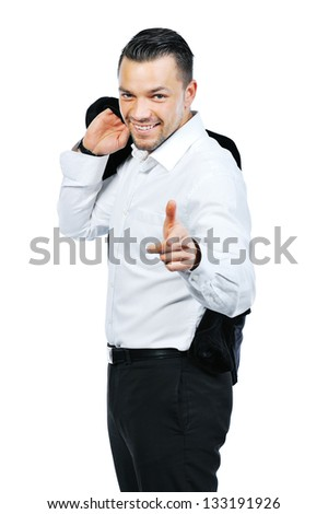 Portrait of a happy young man pointing at you over white background - stock photo